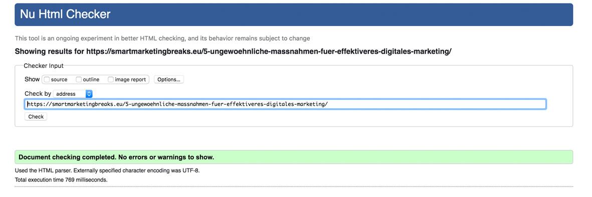 In diesem Fall wurden keine HTML Fehler gefunden