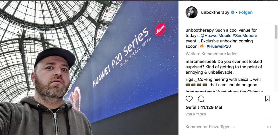 Huawai lud 2018 Tech-Experte Lewis Hilsenteger zum hauseigenen Release-Event für das neue P20 Smartphone ein (Quelle: Instagram)