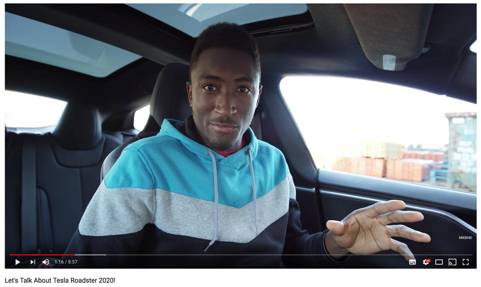 Influencer Marques Brownlee spricht über Tesla (Quelle: Youtube)